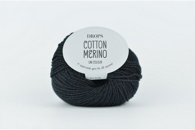 DROPS Cotton Merino 2 czarny