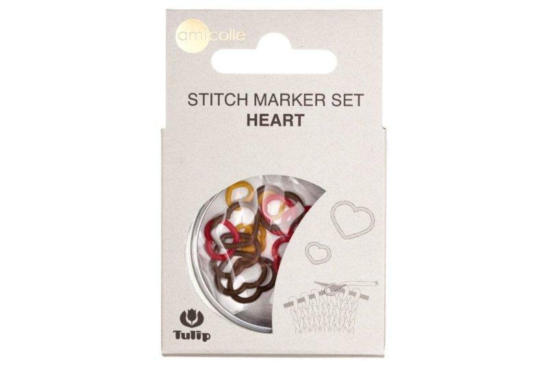 Markery - Tulip Stitch Marker Set Heart (czerwony)