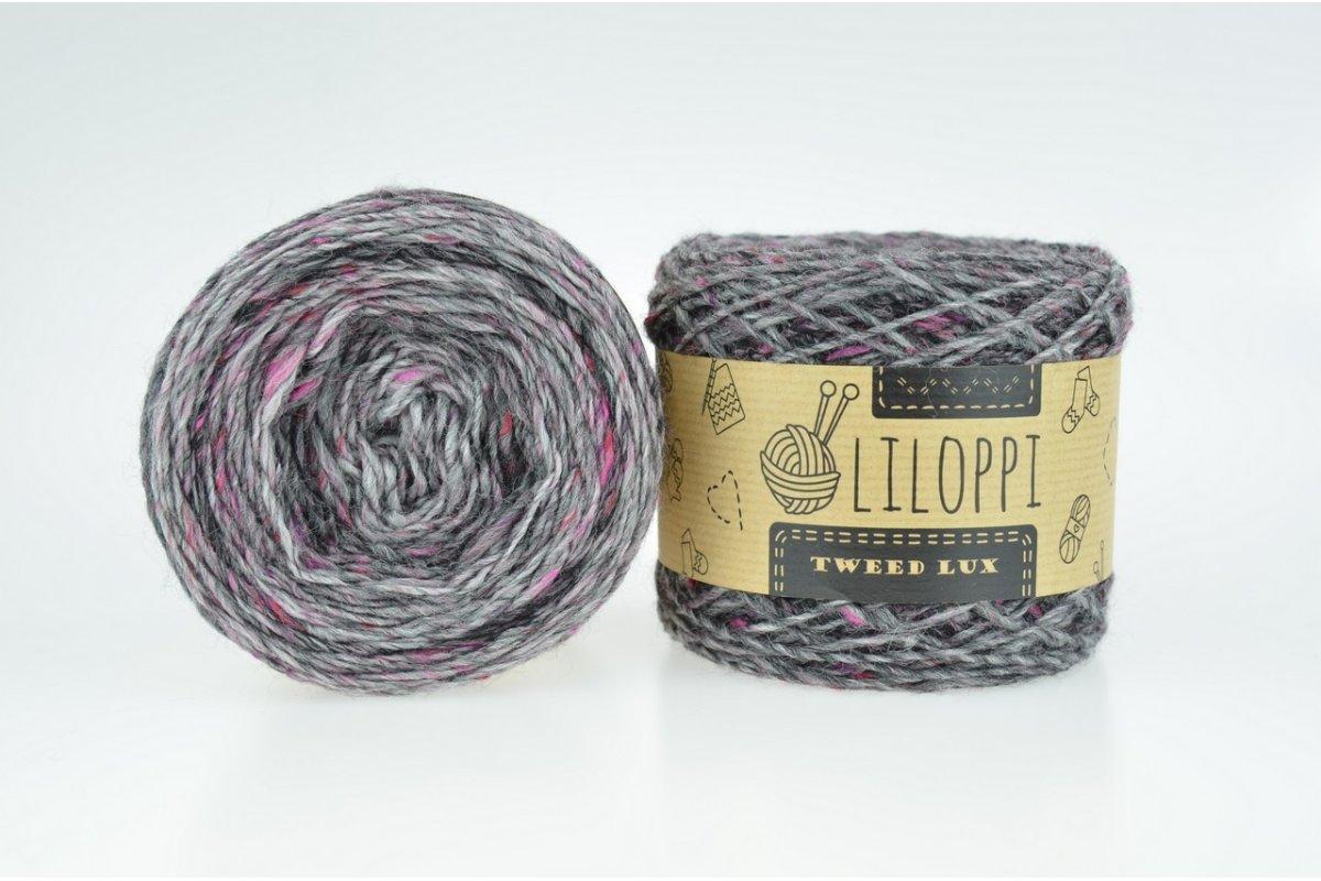 Tweed Lux - szary z kapką amarantu 38885