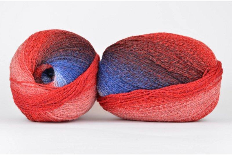 Wool Jazz Artistic - 84 czerwono-niebieska